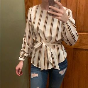 NWOT Yellow and black strip blouse